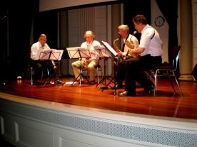 Het kwartet tijdens repetitie